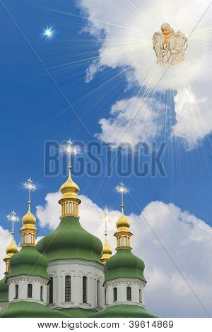 Soaring Angel Abow Church's Domes And Christmas Star