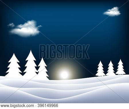 Winter Christmas Motive, Vintage Lantern In Snowy Nature With Big Moon In Background, Vector Illustr