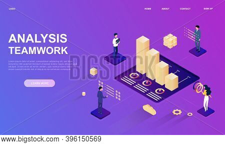 Isometric Business Analysis Planning. Abstract Concept Of Efficient Teamwork Management And Financia