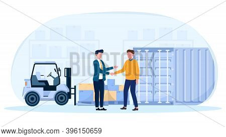 Businessmen Shaking Hands Making Cargo Insurance Deal. Concept Of Making Import And Export Logistics