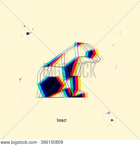 Polygon Stereoscopic Bear Baby Silhouette. Low Poly Animal. Abstract Geometric Logo Icon. Triangle G