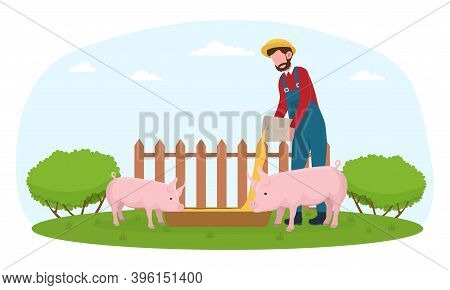 Farmer In Blue Overall Feeding Pigs. Male Character Is Making Sure Animals Are Safe And Fed. Flat Ve