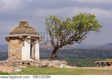 Hampi, Karnataka, India - November 4, 2013: Closeup Of Free Standing Chapel Structure At Moola Virup