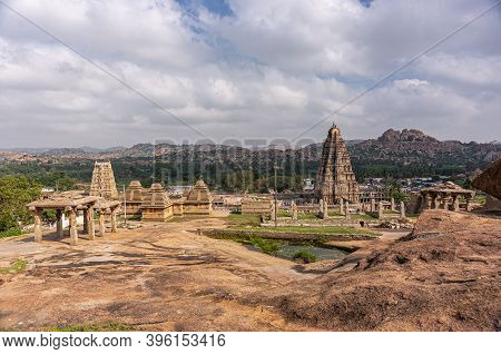 Hampi, Karnataka, India - November 4, 2013: Sri Virupaksha Temple Complex With Gopurams Seen From Mo