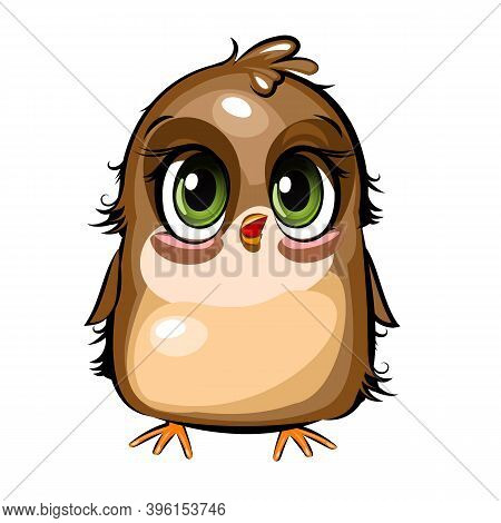 Little Sparrow. Funny Chick. Cute And Funny Baby Bird. The Isolated Object On A White Background. Il