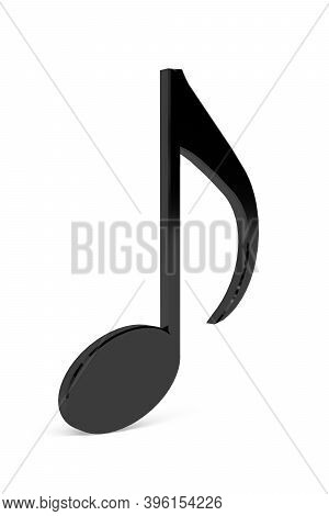 3d Eight Note Music Sign Isolated On A White Background - 3d Render
