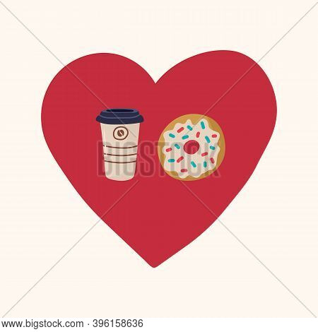 A Cup Of Takeaway Coffee With A Doughnut In The Circle Of The Heart. Beautiful Illustration Of Love