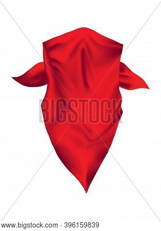 Red Realistic Bandana On Neck. Youth Fashion Neck Scarf Or Cowboy Garment Element Template. Biker Fa