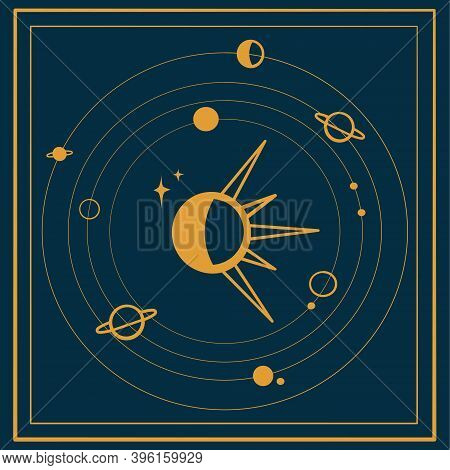 Celestial Bodies On A Blue Background. Moon, Sun And Planets For Astrology And Occultism. Vector Ima