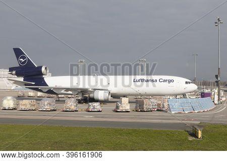 Frankfurt, Germany - March 19, 2020: Lufthansa Flight Cargo Dc 10 Is Ready For Loading At Frankfurt