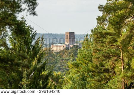 The Anglican Cathedral Church Of The Holy Spirit On Stag Hill, Guildford, Surrey, England. Designed