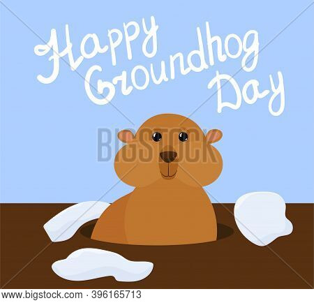 Groundhog Day Vector Cartoon Background With Cute Marmot And Letters On Blue Sky. Traditional Holida