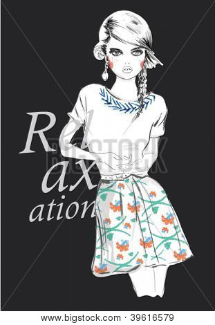fashion teenage girl for apparel. vector illustration