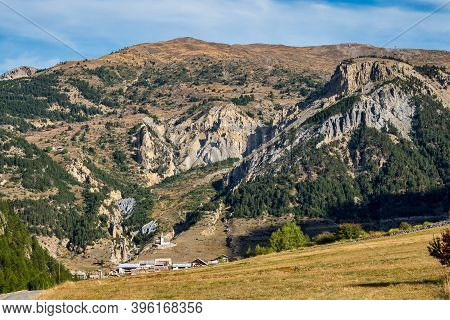 Alpine Landscape Of The French Alps, Cervieres In The Provence Alpes, France.