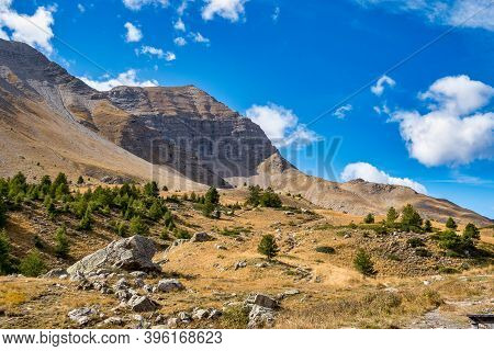 Alpine Landscape Of The French Alps, Col De Vars In The Mercantour National Park, Provence Alpes, Fr