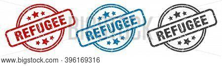 Refugee Stamp. Refugee Round Isolated Sign. Refugee Label Set