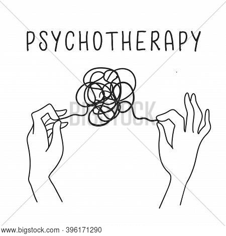 Psychotherapy Concept, Hands Holding Tangled Thread. Icon In Hand Drawn Outline Style Black And Whit