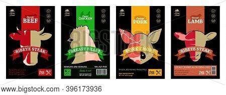 Vector Meat Labels, Meat Textures, Farm Animal Icons