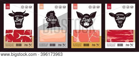 Vector Meat Packaging. Meat Textures. Farm Animal Icons