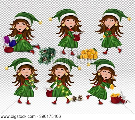 Set Of Christmas Elves With Gift Present. Christmas Elements Pine Cone, Present, Orange, Fir Branche