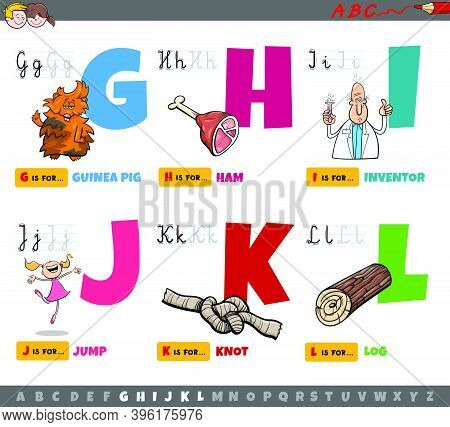 Cartoon Illustration Of Capital Letters From Alphabet Educational Set For Reading And Writing Practi