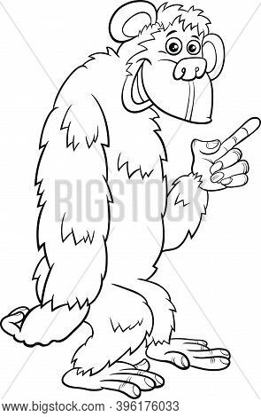 Black And White Cartoon Illustration Of Gorilla Ape Comic Animal Character Coloring Book Page