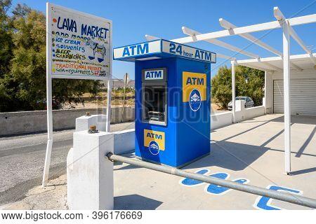 Santorini, Greece - September 17, 2020: Atm Machine, Greek Bank Automated Teller Machine On A Street