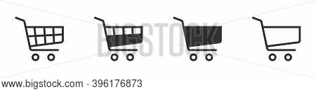 Shopping Cart Icon. Vector Shopping Cart Icon On White Background. Shopping Cart Illustration For We