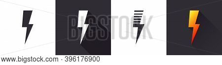 Lightning Bolt Icon. Lightning, Electric Power Vector Logo. Lightning Bolt Illustration On Different