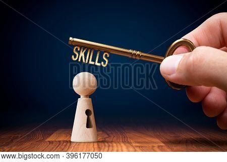 Unlock Your Skills Concept. Skills Improvement And Personal Development Concept.