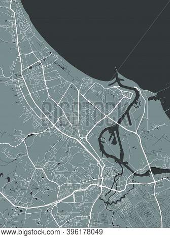 Urban City Map Of Gdansk. Vector Illustration, Gdansk Map Grayscale Art Poster. Street Map Image Wit