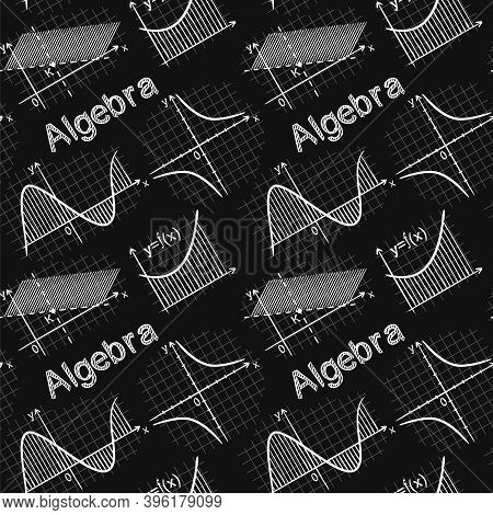Seamless Chalk Pattern With School Algebra Elements. Pattern With Mathematical Charts And Graphs On