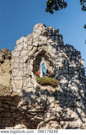 The Statue Of The Virgin Mary In The Grotto At The Sanctuary Of St. Anna In Gora Swieta Anna (mount
