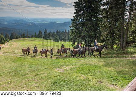 Hala Rysianka, Beskid Zywiecki, Poland, September 4, 2020: Mountain Horseback Riding In Beskid Zywie