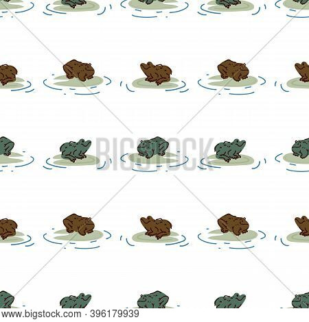 Cute Frog With Lily Pad Vector Pattern. Wildlife Pond Amphibian Home Decor With Cartoon Lake Toad. S