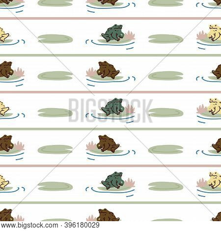 Cute Frog On Lily Pad Flower Vector Pattern. Wildlife Pond Amphibian Home Decor With Cartoon Lake To