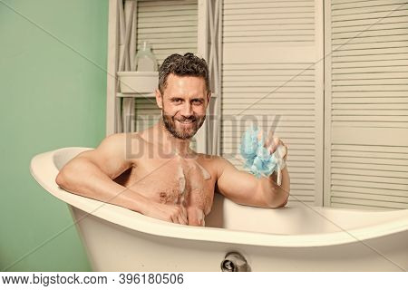 Hygiene And Health. Morning Shower. Desire And Temptation. Macho Man Washing In Bath. Man Wash Muscu