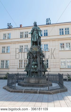 Prague, Czech Republic - July 10, 2020: Statue Of Charles Iv. Sculpture Of Charles Iv, Holy Roman Em