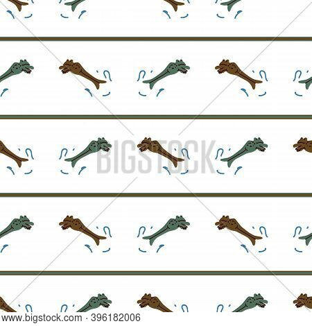 Cute Frog Jumping Vector Pattern. Wildlife Pond Amphibian Home Decor With Cartoon Lake Toad. Seamles