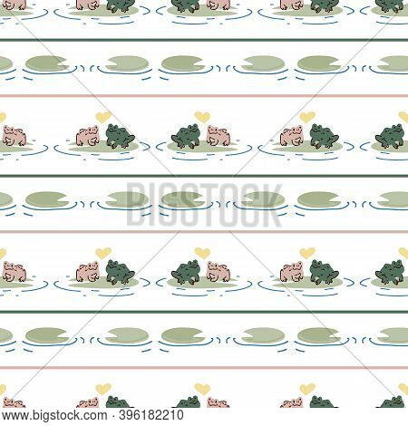 Cute Frog Lovers On Lily Pad Vector Pattern. Wildlife Pond Amphibian Home Decor With Cartoon Lake To