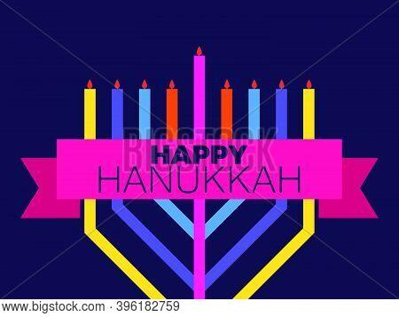 Happy Hanukkah. Multi Colored Menorah With Nine Candles And Ribbon. Jewish Festival Greeting Card. V