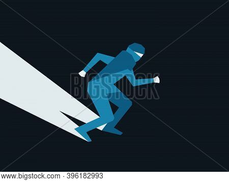 Silhouette Of Man. Thief Face Retro Style, Noir. Creeping Criminal On A Black Background. Vector Ill
