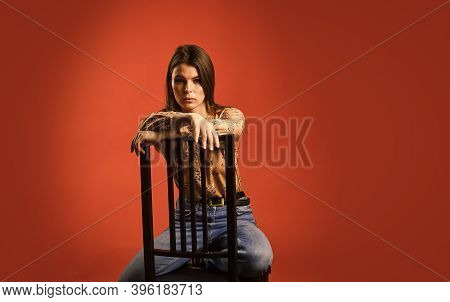 Lonely Day. Loneliness Concept. Lonely Woman Sit On Chair. Psychology Concept. Sadness On Her Mind.