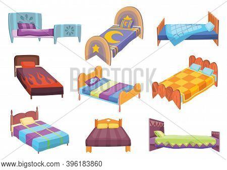 Cartoon Beds Collection. Vector Illustration Of Color Beds With Pillow And Covers. Icons Of Furnitur