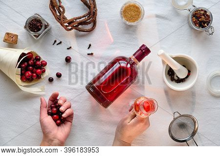Homemade Alcoholic Drink Prep. Flat Lay On Cranberry Tincture With Ethanol, Berries And .