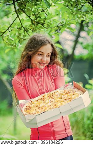 Juicy Pizza. Unhealthy And Healthy Food. Happy Childhood. Child Feel Hunger. Hungry Kid Going To Eat