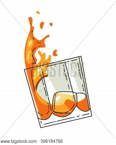 Glass Of Whiskey With Ice Isolated On Transparent Background. Realistic Vector Glass With Smokey Sco