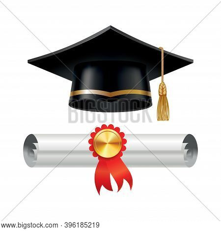 Graduation Cap And Rolled Diploma Scroll With Stamp. Finish Education Concept. Academic Hat With Tas