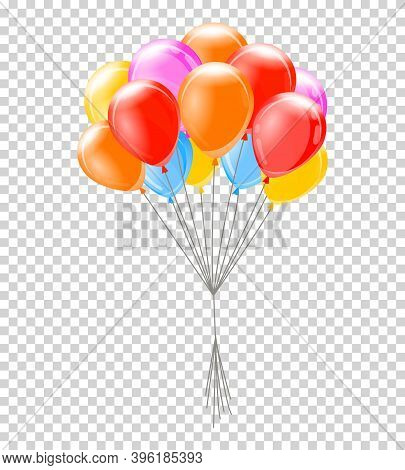 Helium Balloons. Bunch Or Group Of Colorful Helium Balloons Isolated On Transparent Background. Part