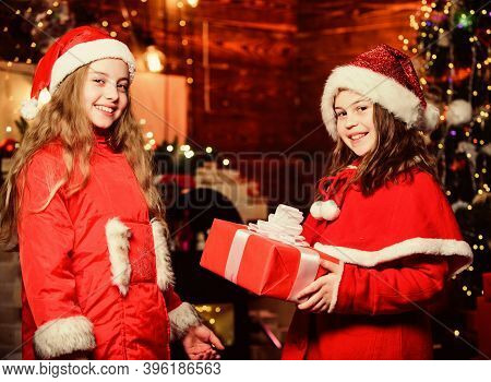 Sincere Congratulations. Little Girl Sisters In Hats. We Are Family. Elf Children. Xmas Gift. Santa